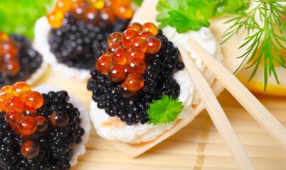 Kaviar, lecker angerichtet