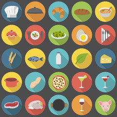 Chef's flat cooking icons set
