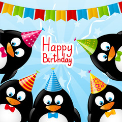 Birthday card with funny penguins