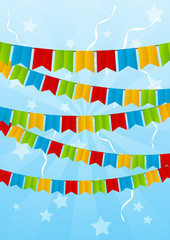 Color party flags on blue background