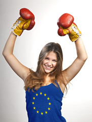 Success woman celebrating for her succes with the flag of Europe
