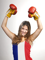Success woman celebrating for her succes with the flag of French
