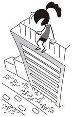 飛び降り自殺しようとする女性