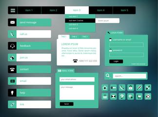 modern black and green web ui elements