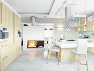 kitchen interior. 3d concept