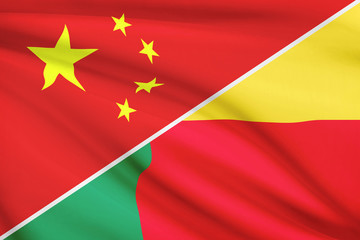 Series of ruffled flags. China and Republic of Benin.