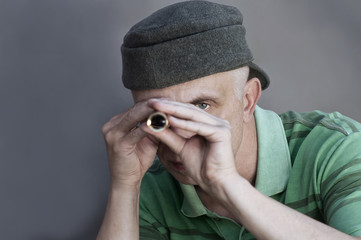 man with a spyglass