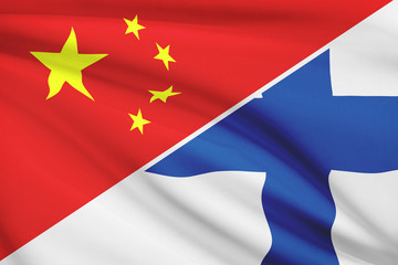 Series of ruffled flags. China and Republic of Finland.