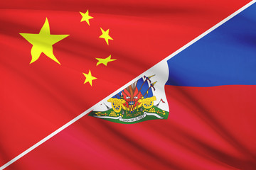Series of ruffled flags. China and Republic of Haiti.