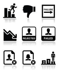 Failure, rejected man icons set