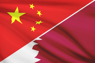 Series of ruffled flags. China and State of Qatar.