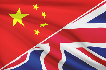 Series of ruffled flags. China and Great Britain (UK)