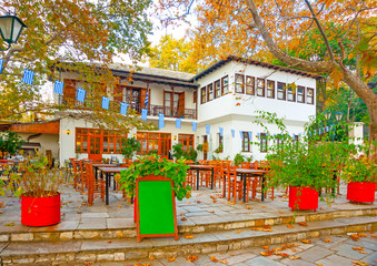 square in Portaria village on Pilion mountain in Greece