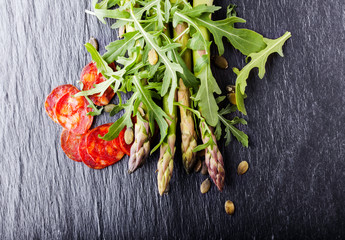 Asparagus salad with chorizo