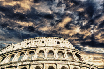 Beautiful sky above colosseum in Rome