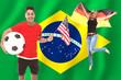 Fan mit Flagge und Ball