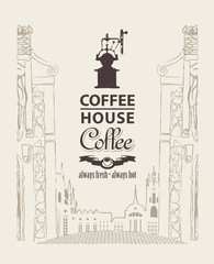 Cover menu for coffee house with a picture of the old town