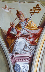Saint Anton - Fresco of saint Gregorius the pope