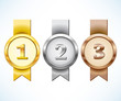 Gold, silver and bronze medal with ribbon - 65275378