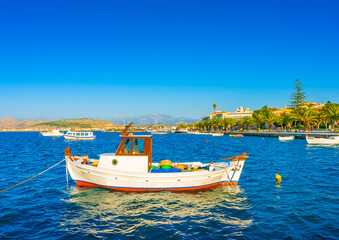 Beautiful small fishing boat in Nafplio town in Greece