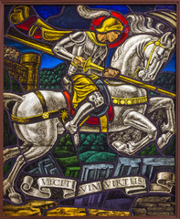 Antwerp - Windowpane of duel of St. Georeg in Joriskerk