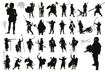 Warriors and soldiers high detailed silhouettes set. Vector
