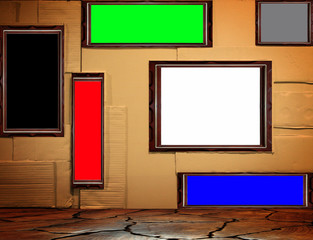 Background of paper wall with frame picture