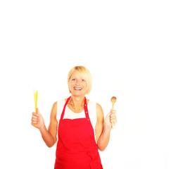 Köchin mit roter Kochschürze