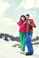 couple in love in mountain