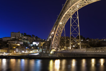 Dom Luis I bridge over Douro river.Porto.Portugal.