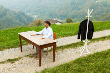 work place outdoors, in contact with nature