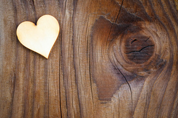 heart on  wooden board