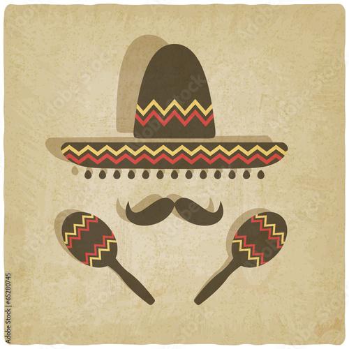 mexikanischer-sombrero-alter-hintergrund