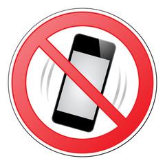Verbotsschild mit klingelndem Smartphone – Vektor