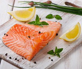 Salmon on a wooden board