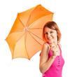 Girl holding an umbrella over white background