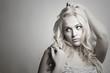 Beautiful funny woman.Flirt Blond Girl.Monochrome