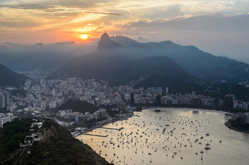 Sunset view of Rio de Janairo, Brazil
