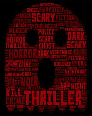 Thriller Concept Word Cloud - Skull Shaped