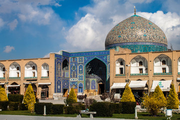 Imam square with Sheikh Lotfollah Mosque  in Isfahan, Iran.