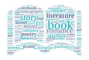 Book shaped word cloud