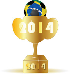 2014 Brazil soccer ball and golden trophy