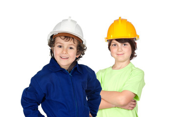 Couple of two young construction workers