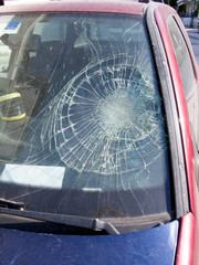 Smashed car windscreen