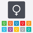 Female sign icon. Woman sex button.