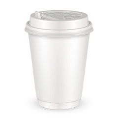 White Disposable Paper Cup With Lid