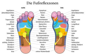 Foot reflexology chart german description