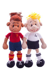 homemade chrochet  soccer player decoration
