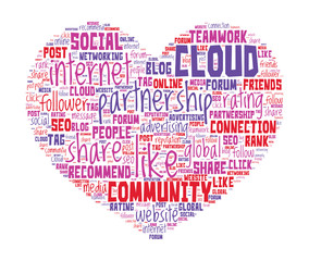 Love Internet Concept - Heart shaped word cloud