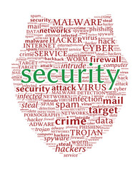 Internet Security Concept - Shield shaped word cloud